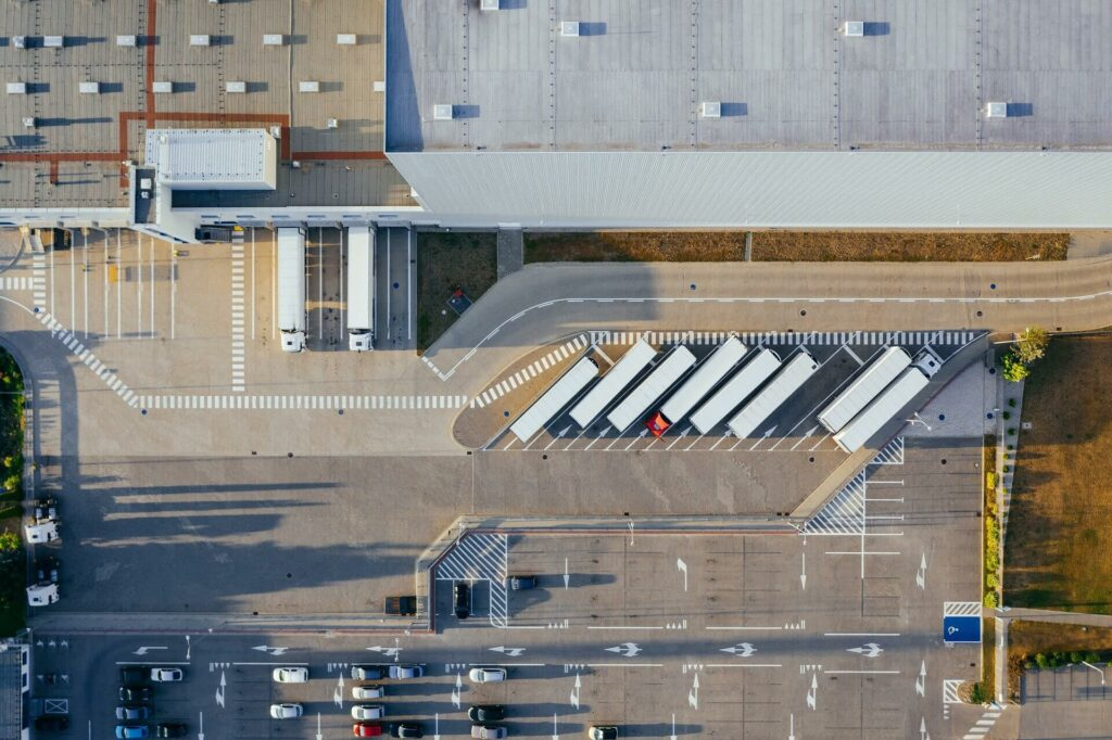 production warehouse outside from above